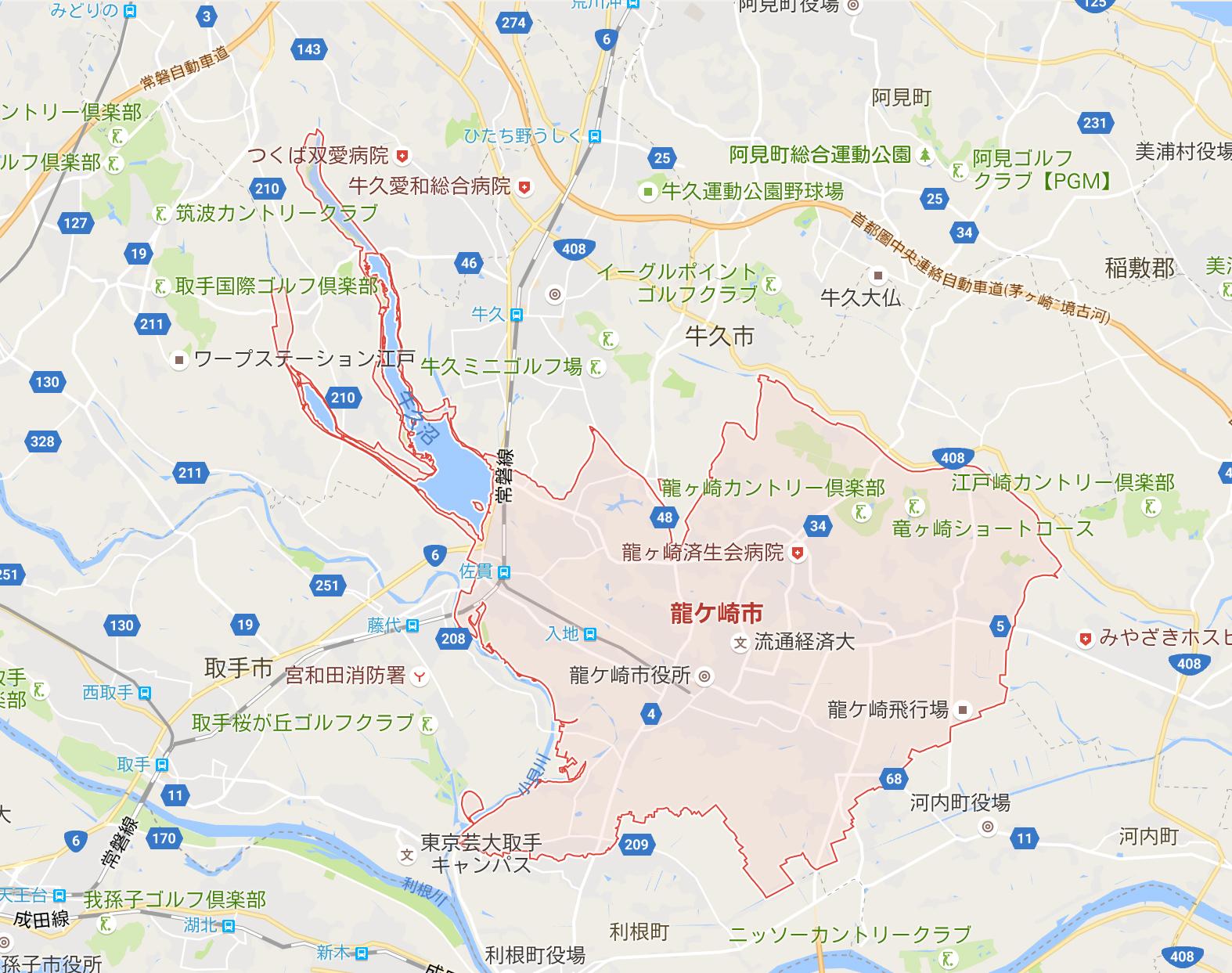 龍ヶ崎市のエステサロン参考マップ